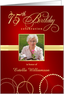 75th Birthday Party Invitations with Your Custom Photo - Elegant Red & Gold card