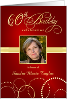 60th Birthday Party Invitations with Your Custom Photo - Elegant Red & Gold card