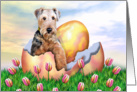 Airedale Terrier Easter Surprise Dog Art card
