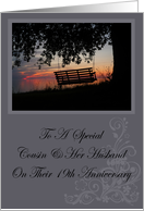 Scenic Beach Sunset Cousin & Her Husband 19th Anniversary Card