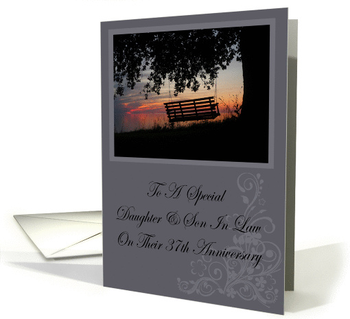 Scenic Beach Sunset Daughter & Son In Law 37th Anniversary card