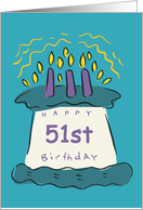 Candles 51st Birthday Card