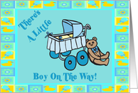 Teddy Bear Baby Boy Announcement card