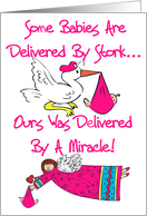 Miracle Baby Girl Adoption Announcement Card