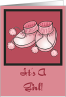 It's A Girl Baby Booties Birth Announcement Card