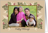 Rustic Holiday Berries and Branches Photo Card