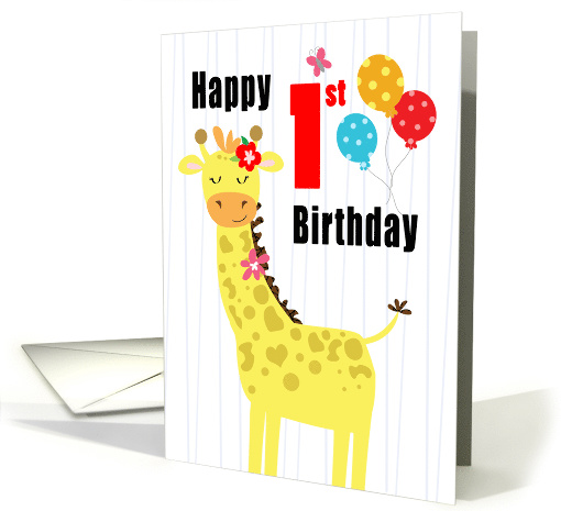Happy First Birthday Girly Giraffe card (1580222)