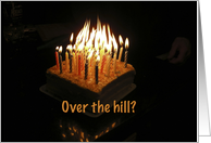 over the hill birthday burning candles cake card