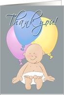 Baby shower present Thank You! Baby with balloons card