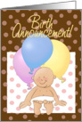Birth Announcement cartoon! Baby with balloons and polka dots. card