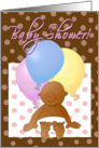 Baby shower invitation cartoon! Baby with balloons. card