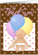 Baby gift thank you cartoon! Baby with balloons. card