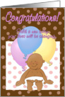 Baby birth congratulations! Baby with balloons cartoon. card