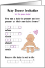 Baby shower invitation game! Cartoon baby word jumble. card
