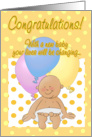 Congratulations on new baby! Cartoon baby and balloons. card