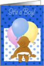 It's a Boy! Birth announcement. Newborn! Cartoon baby and balloons. card