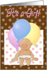 It's a Girl! Birth announcement. Newborn! Cartoon baby and balloons. card