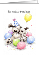 Cute best friend dogs cuddling with balloons to celebrate Birthday card