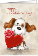 Cute dog with heart, Happy Valentine's Day. card