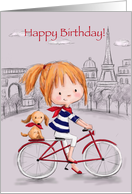 Cute young girl bicycling with dog in Paris, Happy Birthday card