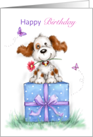 Happy birthday friend,Cute dog sitting on big present with smile card