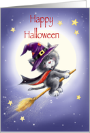 Happy Halloween for Kids, Black Cat with Witch's Hat Flying on Broom card