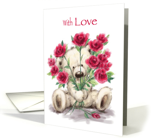 Cute Bear with Red Roses, Happy Valentine's Day with Love card