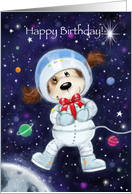 Happy Birthday, Cute Dog Astronaut in Space card
