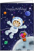 Happy Birthday My Friend, Cute Cat Astronaut in Space card