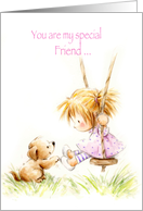 My Special Friend, Cute Girl on Swing and Dog card