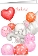Thank You for Baby Shower Gift, Baby Girl Elephant with Balloons card