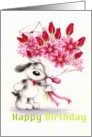 dog with flowers card