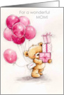 mother's birthday, bear with presents & balloons card