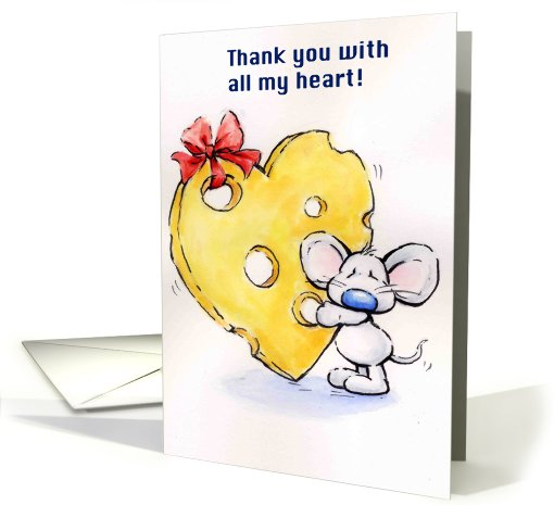 mouse holding a big heart shaped  cheese card (654542)