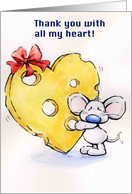 mouse holding a big heart shaped cheese card