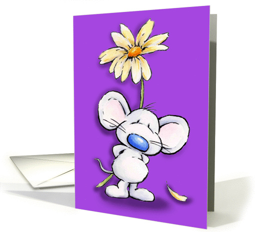cute mouse with a big flower card (788711)