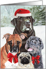 Santa Paws is coming to town, Merry Christmas Dog Painting card