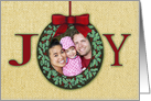 Joy Custom Photo Upload Christmas Ornament Wreath card