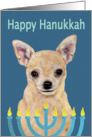 Happy Hanukkah Tan Chihuahua & Menorah Candles card