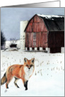 Red Fox WInter Scene Season's Greetings card