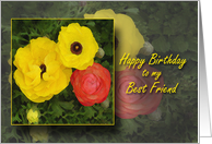 Happy Birthday Best Friend, BFF, Cheery Red and Yellow Flowers card