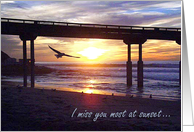 I Miss You, Ocean Sunset with Seagull card