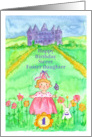 Happy 1st Birthday Foster Daughter Princess Castle Illustration card