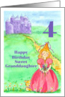Happy 4th Birthday Granddaughter Princess Castle Illustration card