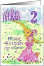 Happy 2nd Birthday Step Daughter Princess Castle Illustration card