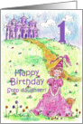 Happy 1st Birthday Step Daughter Princess Castle Illustration card