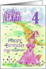 Happy 4th Birthday Step Daughter Princess Castle Illustration card