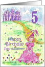 Happy 5th Birthday Step Daughter Princess Castle Illustration card