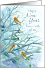Happy New Year From Both of Us Bluebirds Winter Trees Watercolor card