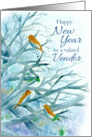 Happy New Year Vendor Bluebirds Winter Trees Watercolor card